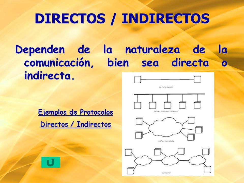 Dependen de la naturaleza de la comunicación, bien sea directa o indirecta. DIRECTOS / INDIRECTOS Ejemplos de Protocolos Directos / Indirectos
