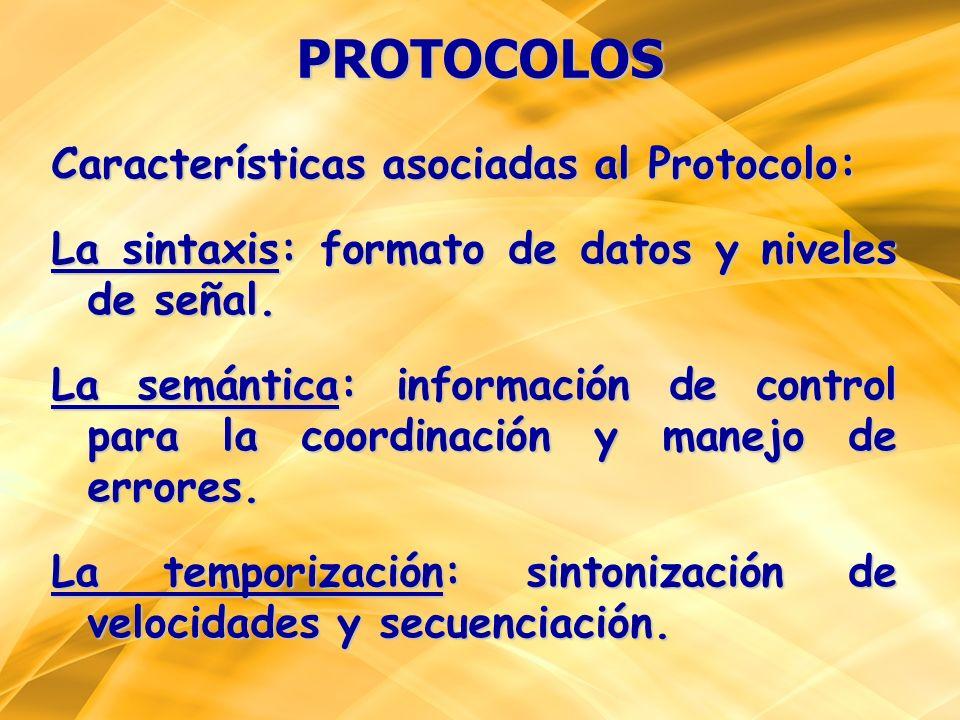 PROTOCOLOS Características asociadas al Protocolo: La sintaxis: formato de datos y niveles de señal. La semántica: información de control para la coor