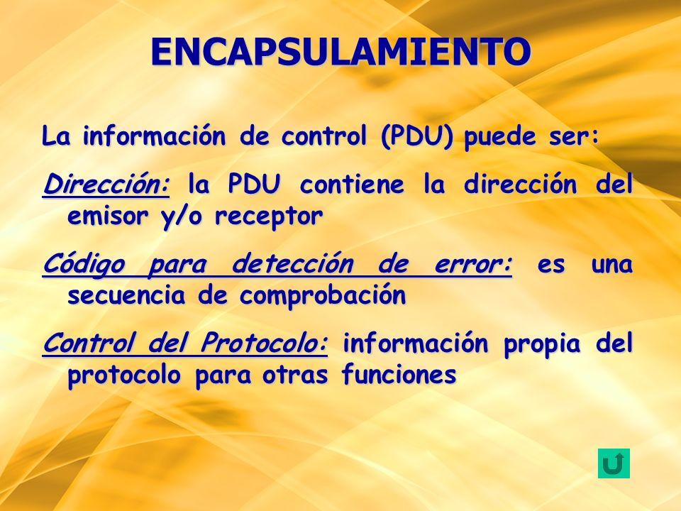 La información de control (PDU) puede ser: Dirección: la PDU contiene la dirección del emisor y/o receptor Código para detección de error: es una secu