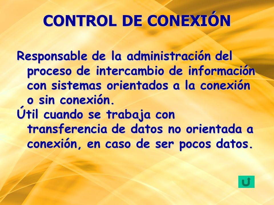 Responsable de la administración del proceso de intercambio de información con sistemas orientados a la conexión o sin conexión. Útil cuando se trabaj