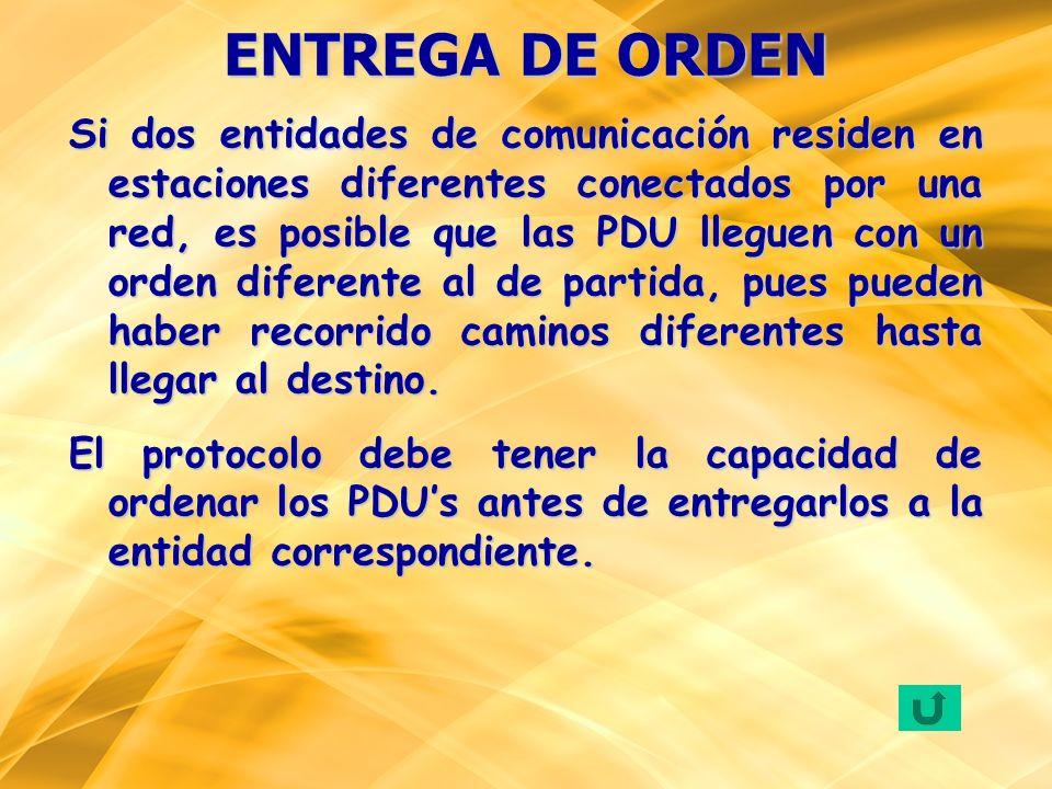 Si dos entidades de comunicación residen en estaciones diferentes conectados por una red, es posible que las PDU lleguen con un orden diferente al de