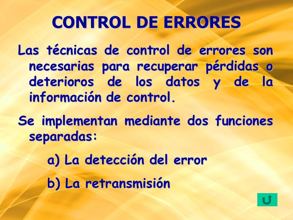 Las técnicas de control de errores son necesarias para recuperar pérdidas o deterioros de los datos y de la información de control. Se implementan med