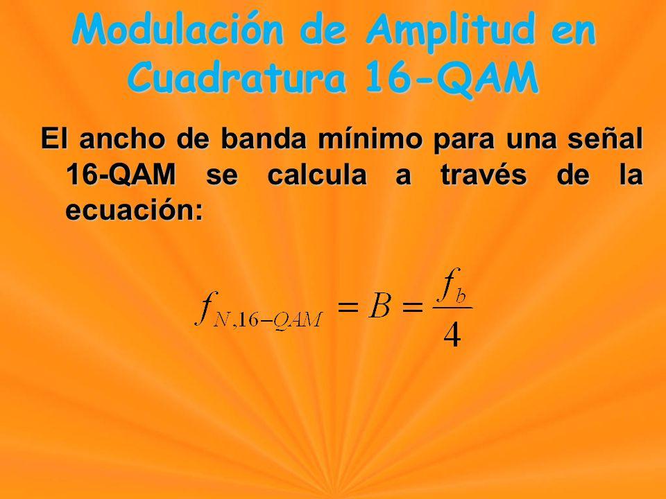 El ancho de banda mínimo para una señal 16-QAM se calcula a través de la ecuación: Modulación de Amplitud en Cuadratura 16-QAM