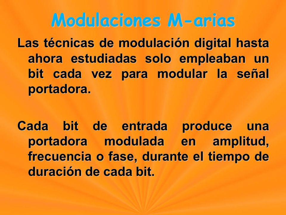 Modulaciones M-arias Las técnicas de modulación digital hasta ahora estudiadas solo empleaban un bit cada vez para modular la señal portadora.