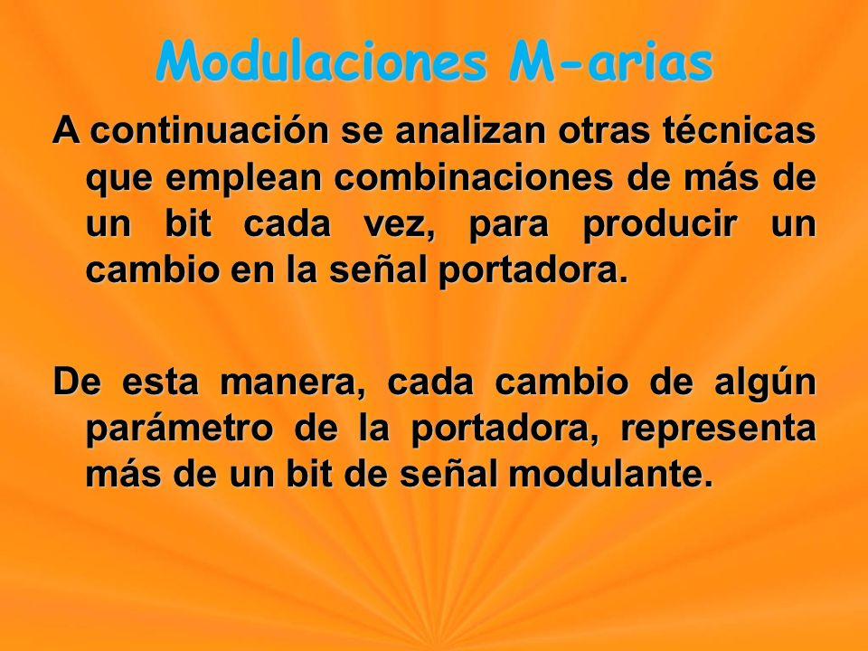 Modulaciones M-arias A continuación se analizan otras técnicas que emplean combinaciones de más de un bit cada vez, para producir un cambio en la señal portadora.