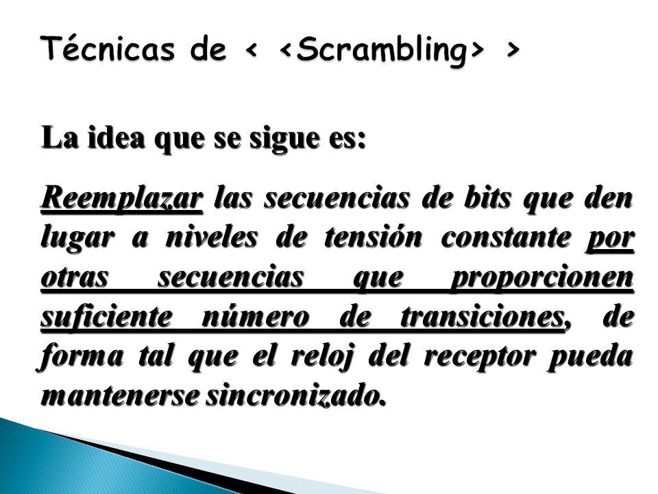 La idea que se sigue es: Reemplazar las secuencias de bits que den lugar a niveles de tensión constante por otras secuencias que proporcionen suficien