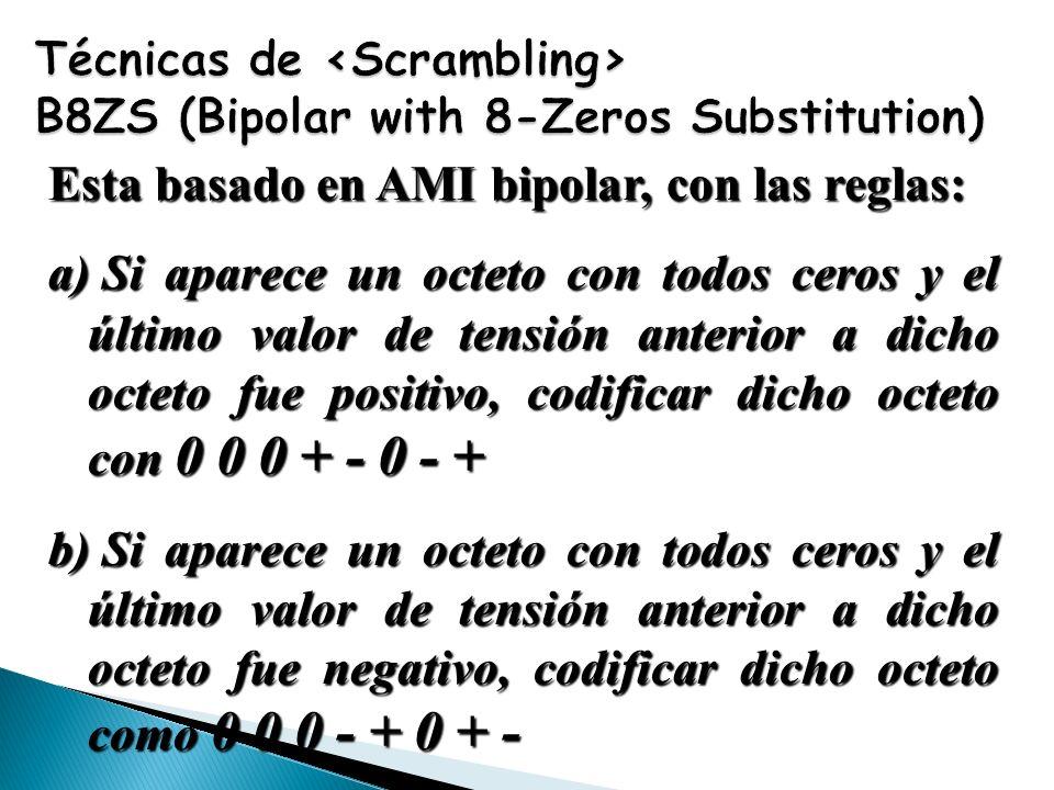 Esta basado en AMI bipolar, con las reglas: a) Si aparece un octeto con todos ceros y el último valor de tensión anterior a dicho octeto fue positivo,