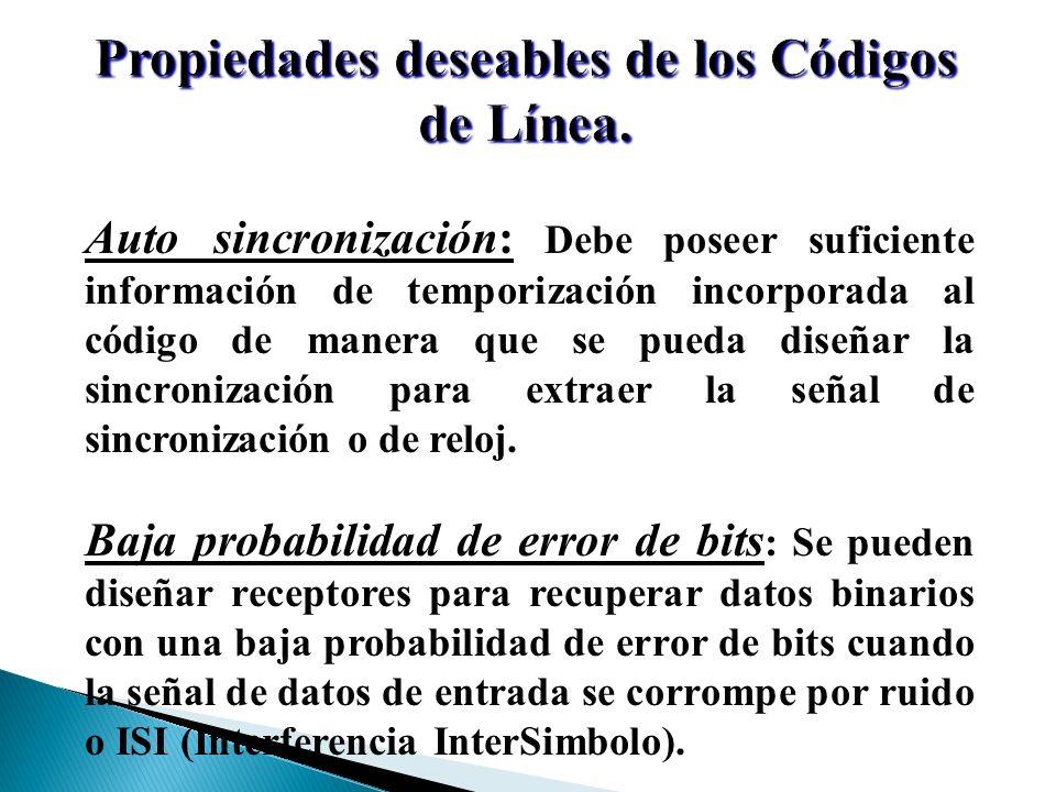 Propiedades deseables de los Códigos de Línea. Auto sincronización: Debe poseer suficiente información de temporización incorporada al código de maner