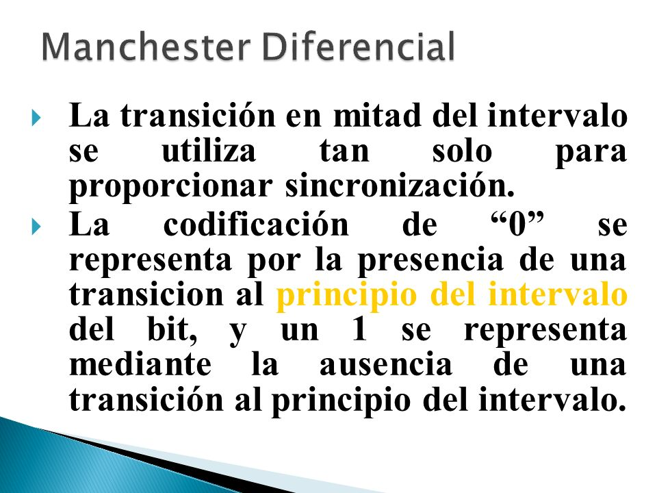 La transición en mitad del intervalo se utiliza tan solo para proporcionar sincronización. La codificación de 0 se representa por la presencia de una