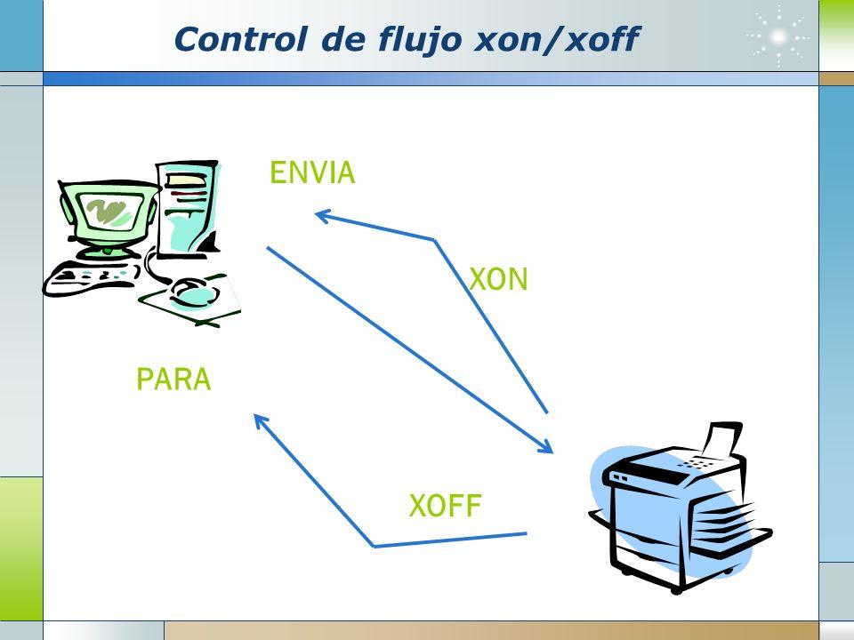 Control de flujo xon/xoff XON XOFF ENVIA PARA