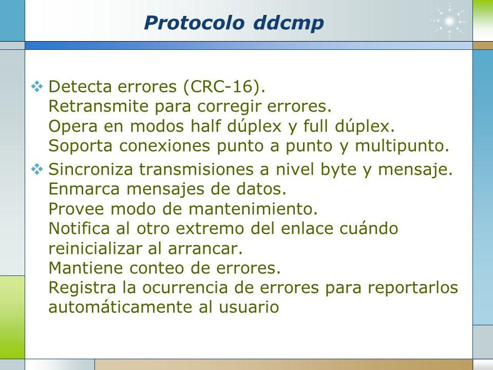 Protocolo ddcmp Detecta errores (CRC-16). Retransmite para corregir errores. Opera en modos half dúplex y full dúplex. Soporta conexiones punto a punt