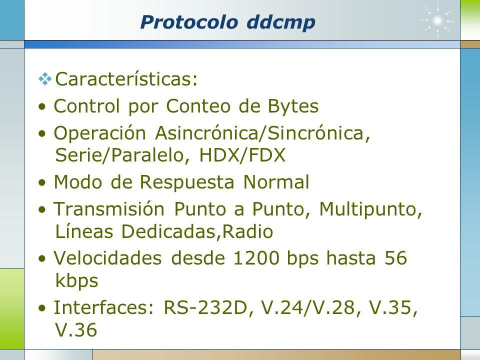 Protocolo ddcmp Características: Control por Conteo de Bytes Operación Asincrónica/Sincrónica, Serie/Paralelo, HDX/FDX Modo de Respuesta Normal Transm