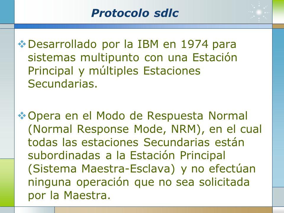 Protocolo sdlc Desarrollado por la IBM en 1974 para sistemas multipunto con una Estación Principal y múltiples Estaciones Secundarias. Opera en el Mod