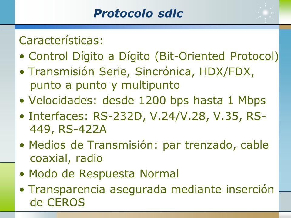 Protocolo sdlc Características: Control Dígito a Dígito (Bit-Oriented Protocol) Transmisión Serie, Sincrónica, HDX/FDX, punto a punto y multipunto Vel