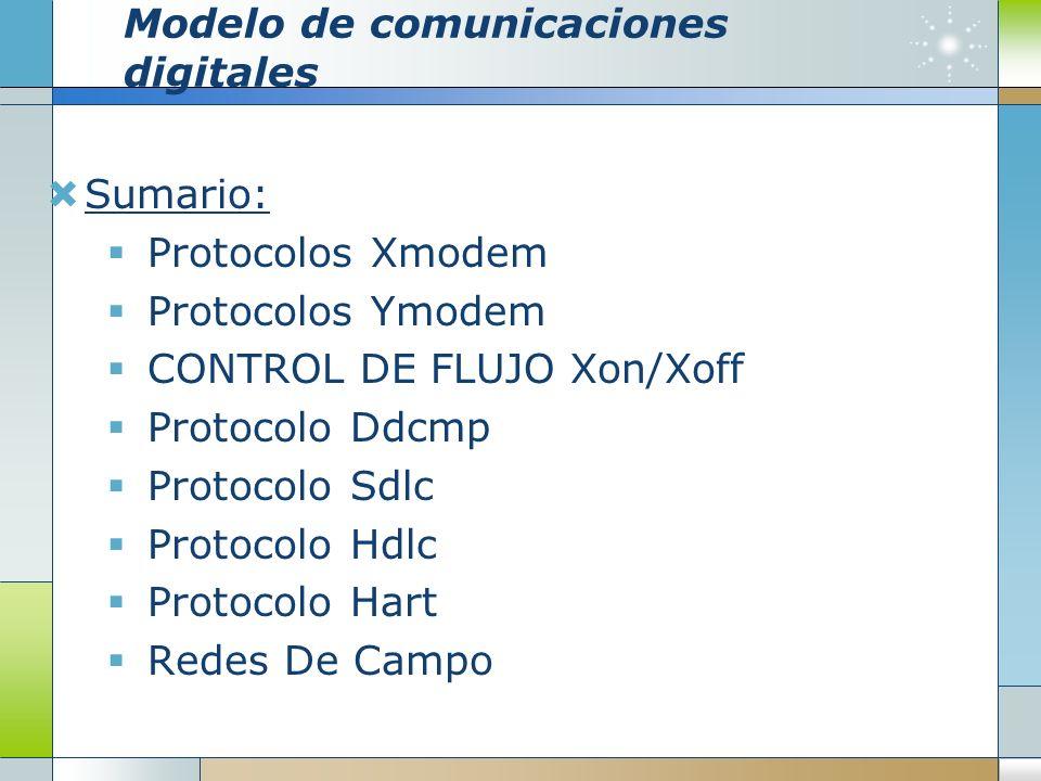 Modelo de comunicaciones digitales Sumario: Protocolos Xmodem Protocolos Ymodem CONTROL DE FLUJO Xon/Xoff Protocolo Ddcmp Protocolo Sdlc Protocolo Hdl