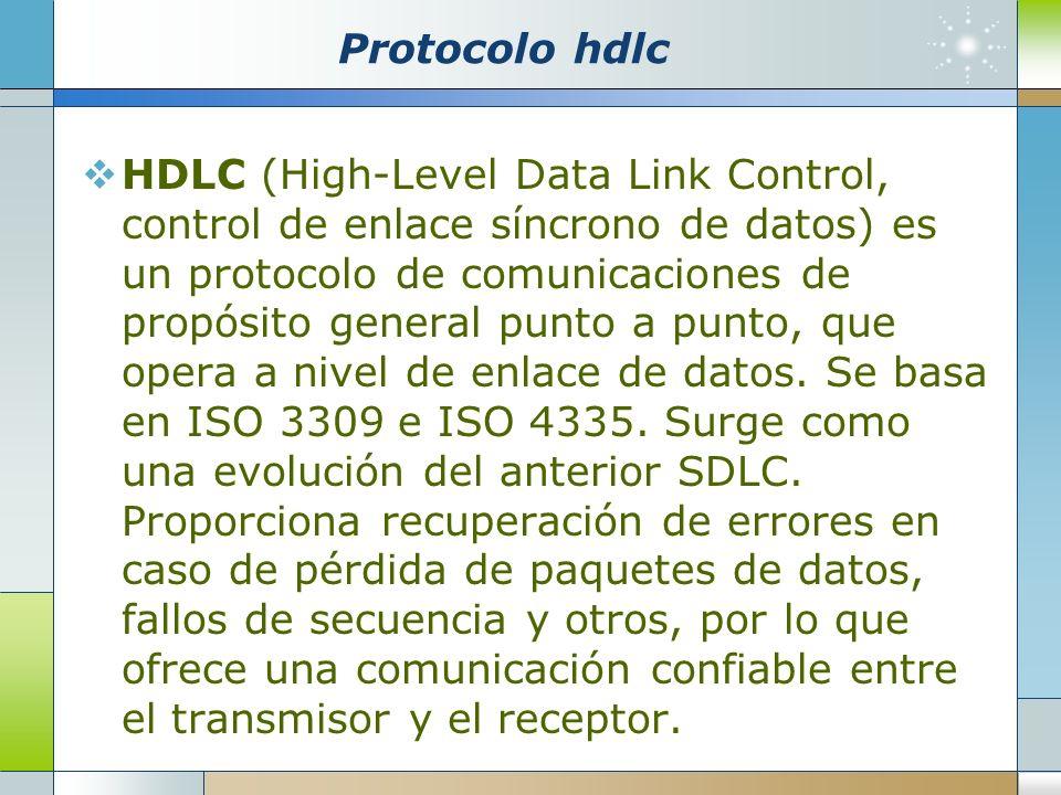 Protocolo hdlc HDLC (High-Level Data Link Control, control de enlace síncrono de datos) es un protocolo de comunicaciones de propósito general punto a