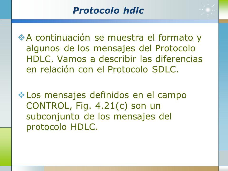 Protocolo hdlc A continuación se muestra el formato y algunos de los mensajes del Protocolo HDLC. Vamos a describir las diferencias en relación con el