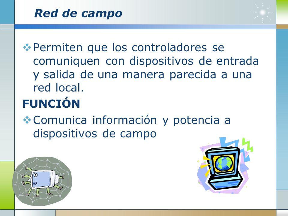Red de campo Permiten que los controladores se comuniquen con dispositivos de entrada y salida de una manera parecida a una red local. FUNCIÓN Comunic
