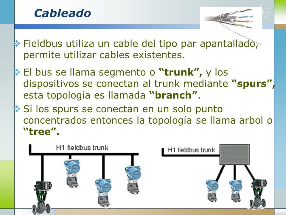 Cableado Fieldbus utiliza un cable del tipo par apantallado, permite utilizar cables existentes. El bus se llama segmento o trunk, y los dispositivos