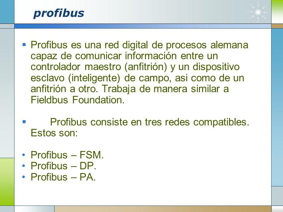 profibus Profibus es una red digital de procesos alemana capaz de comunicar información entre un controlador maestro (anfitrión) y un dispositivo escl