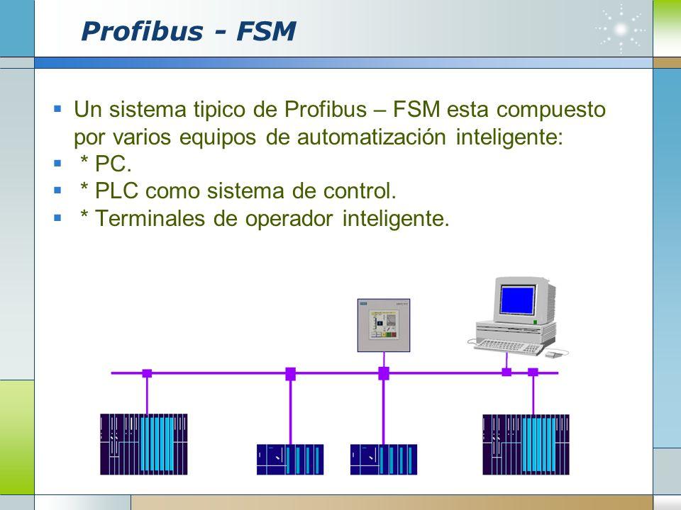 Profibus - FSM Un sistema tipico de Profibus – FSM esta compuesto por varios equipos de automatización inteligente: * PC. * PLC como sistema de contro