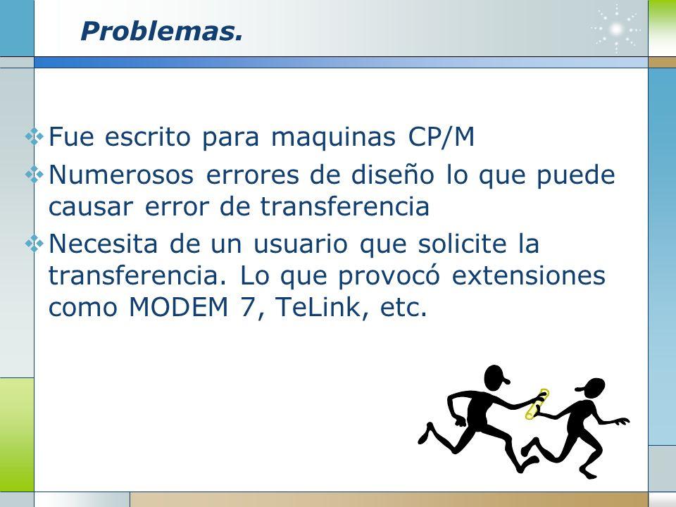 Problemas. Fue escrito para maquinas CP/M Numerosos errores de diseño lo que puede causar error de transferencia Necesita de un usuario que solicite l