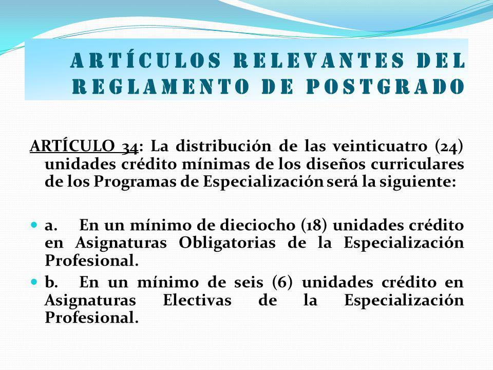 Artículos relevantes del Reglamento de postgrado ARTÍCULO 34: La distribución de las veinticuatro (24) unidades crédito mínimas de los diseños curricu