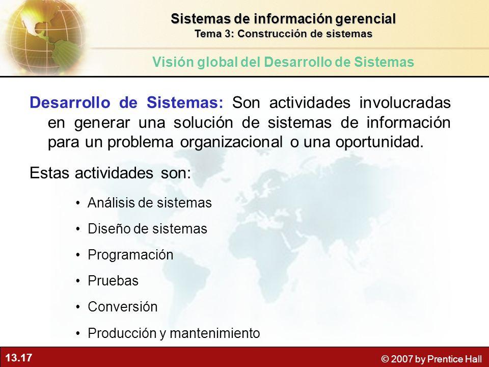 13.17 © 2007 by Prentice Hall Desarrollo de Sistemas: Son actividades involucradas en generar una solución de sistemas de información para un problema