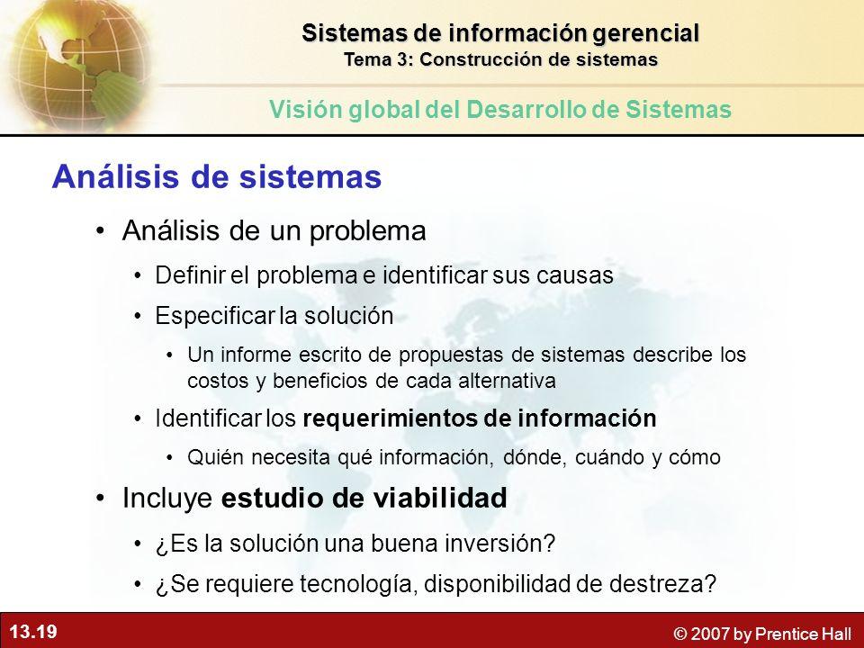 13.19 © 2007 by Prentice Hall Análisis de sistemas Análisis de un problema Definir el problema e identificar sus causas Especificar la solución Un inf