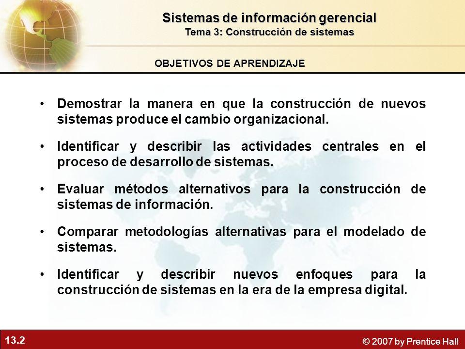 13.2 © 2007 by Prentice Hall OBJETIVOS DE APRENDIZAJE Sistemas de información gerencial Tema 3: Construcción de sistemas Demostrar la manera en que la