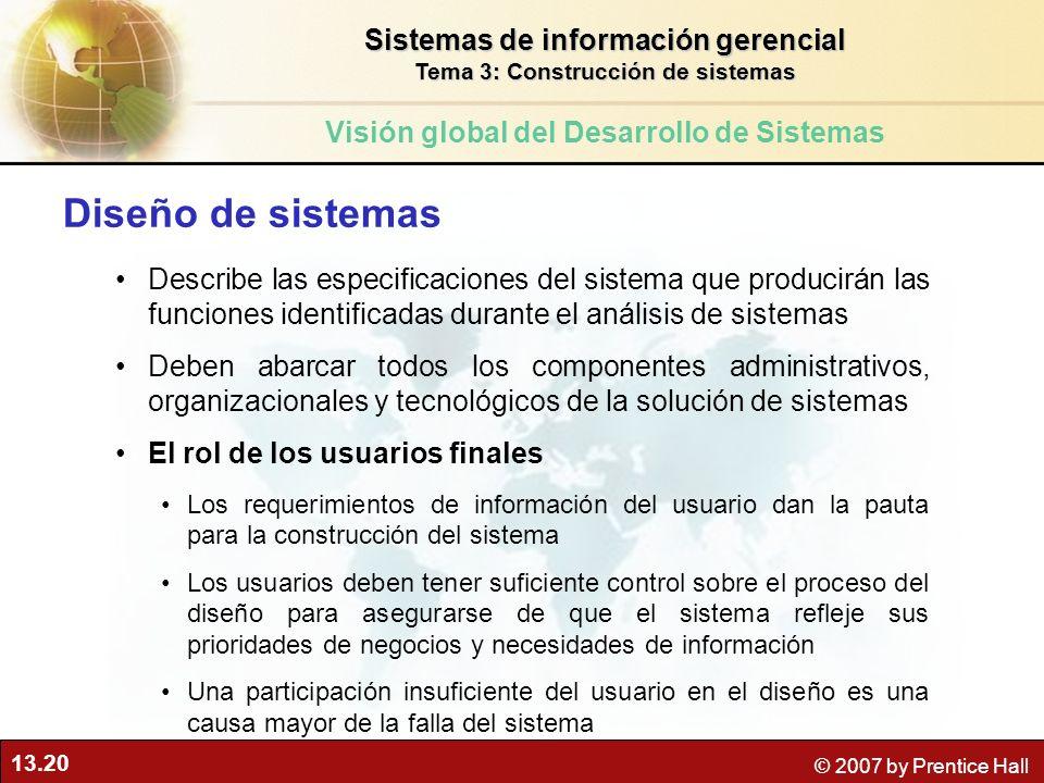 13.20 © 2007 by Prentice Hall Diseño de sistemas Describe las especificaciones del sistema que producirán las funciones identificadas durante el análi