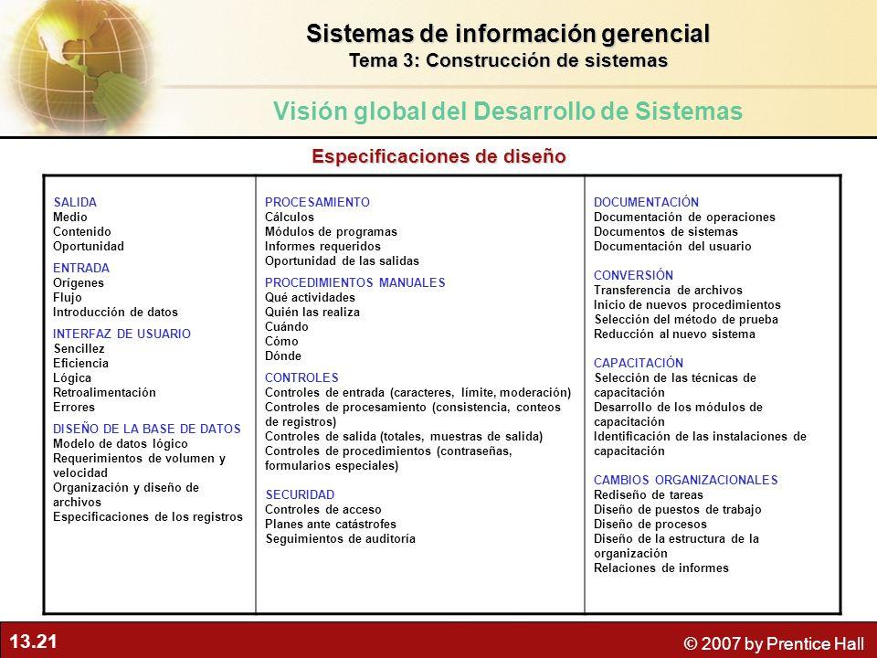 13.21 © 2007 by Prentice Hall SALIDA Medio Contenido Oportunidad ENTRADA Orígenes Flujo Introducción de datos INTERFAZ DE USUARIO Sencillez Eficiencia