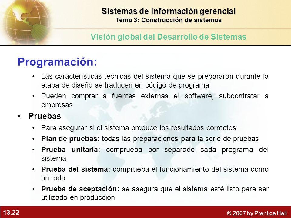 13.22 © 2007 by Prentice Hall Programación: Las características técnicas del sistema que se prepararon durante la etapa de diseño se traducen en códig