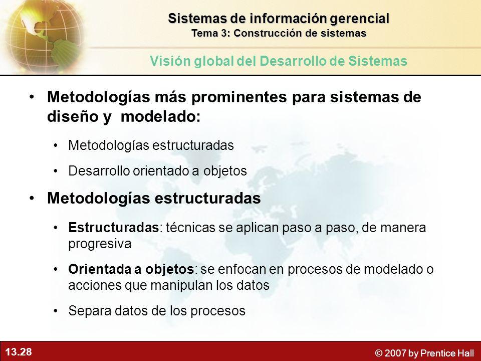 13.28 © 2007 by Prentice Hall Metodologías más prominentes para sistemas de diseño y modelado: Metodologías estructuradas Desarrollo orientado a objet