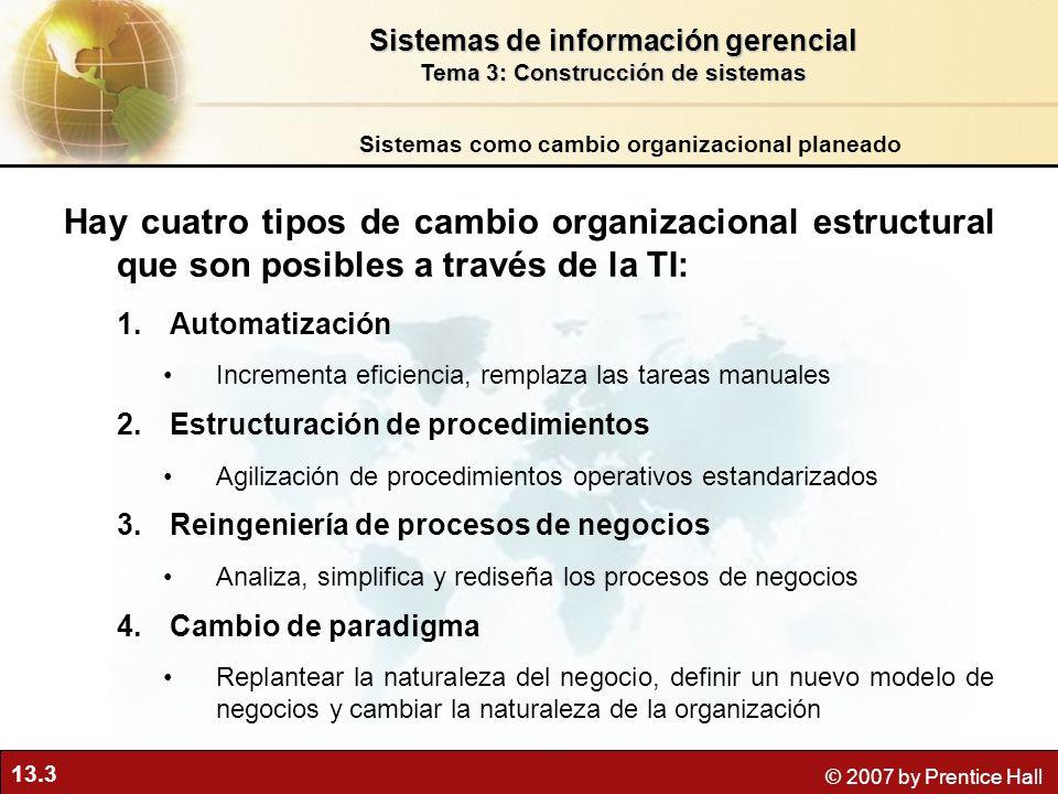 13.3 © 2007 by Prentice Hall Hay cuatro tipos de cambio organizacional estructural que son posibles a través de la TI: 1.Automatización Incrementa efi