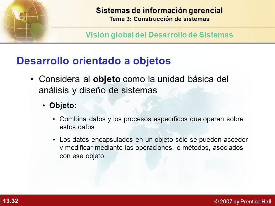 13.32 © 2007 by Prentice Hall Desarrollo orientado a objetos Considera al objeto como la unidad básica del análisis y diseño de sistemas Objeto: Combi