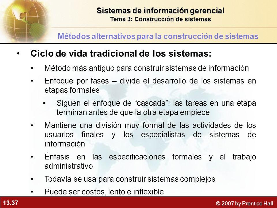 13.37 © 2007 by Prentice Hall Ciclo de vida tradicional de los sistemas: Método más antiguo para construir sistemas de información Enfoque por fases –
