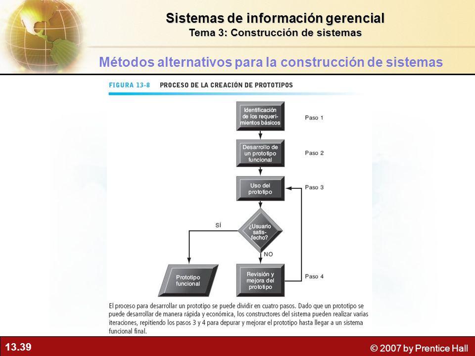13.39 © 2007 by Prentice Hall Sistemas de información gerencial Tema 3: Construcción de sistemas Métodos alternativos para la construcción de sistemas