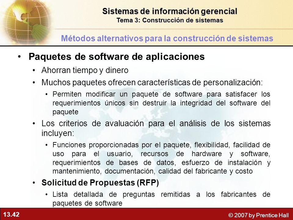 13.42 © 2007 by Prentice Hall Paquetes de software de aplicaciones Ahorran tiempo y dinero Muchos paquetes ofrecen características de personalización: