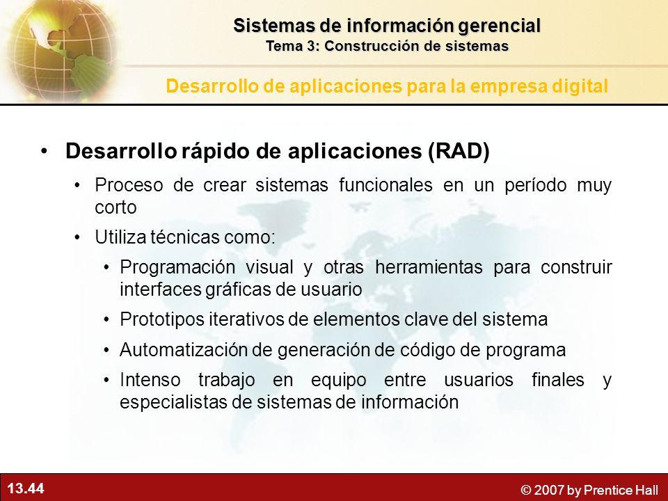 13.44 © 2007 by Prentice Hall Desarrollo rápido de aplicaciones (RAD) Proceso de crear sistemas funcionales en un período muy corto Utiliza técnicas c
