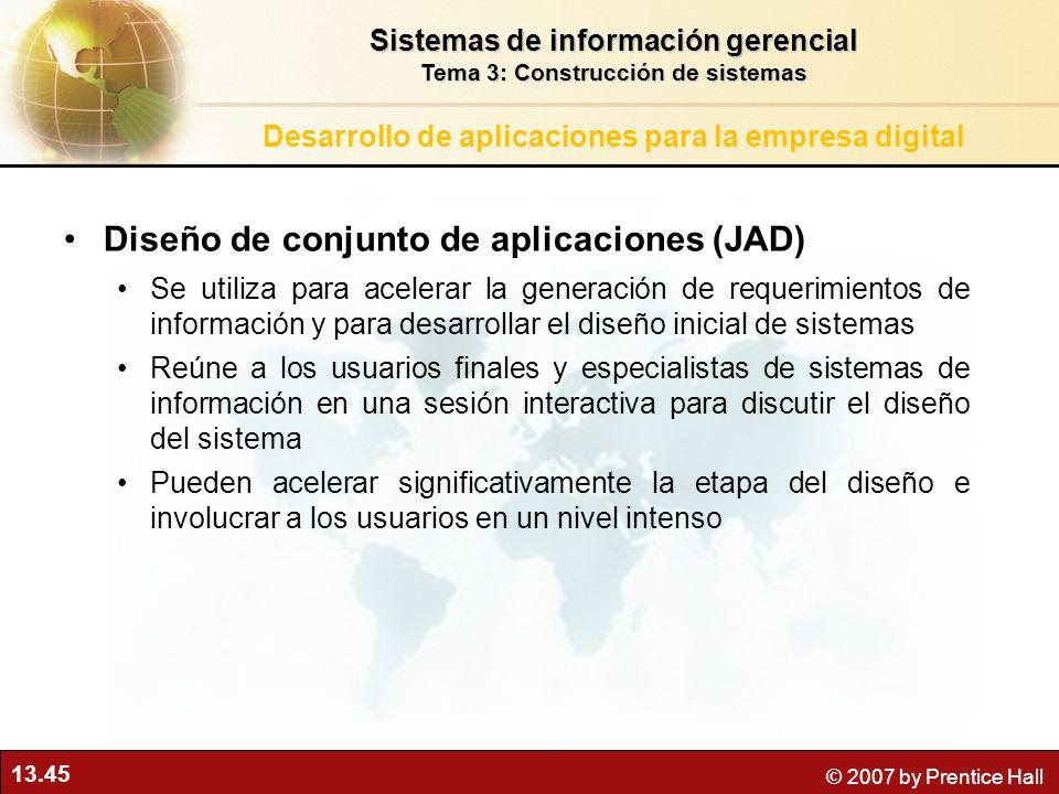 13.45 © 2007 by Prentice Hall Diseño de conjunto de aplicaciones (JAD) Se utiliza para acelerar la generación de requerimientos de información y para