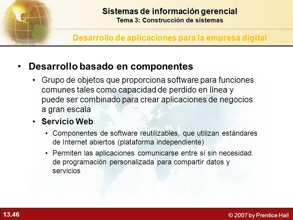 13.46 © 2007 by Prentice Hall Desarrollo basado en componentes Grupo de objetos que proporciona software para funciones comunes tales como capacidad d