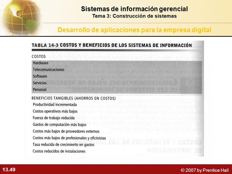 13.49 © 2007 by Prentice Hall Sistemas de información gerencial Tema 3: Construcción de sistemas Desarrollo de aplicaciones para la empresa digital