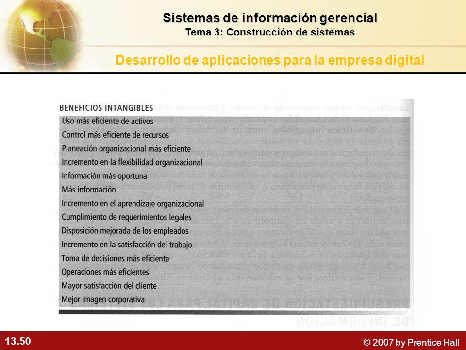 13.50 © 2007 by Prentice Hall Sistemas de información gerencial Tema 3: Construcción de sistemas Desarrollo de aplicaciones para la empresa digital