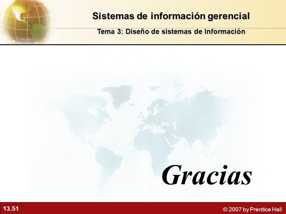 13.51 © 2007 by Prentice Hall Gracias Sistemas de información gerencial Tema 3: Diseño de sistemas de Información