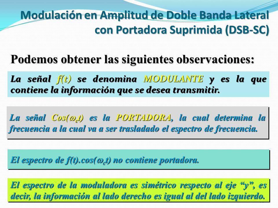 La señal f(t) se denomina MODULANTE y es la que contiene la información que se desea transmitir. 12 La señal Cos( c t) es la PORTADORA, la cual determ