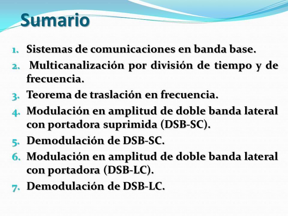 Sumario 1. Sistemas de comunicaciones en banda base. 2. Multicanalización por división de tiempo y de frecuencia. 3. Teorema de traslación en frecuenc