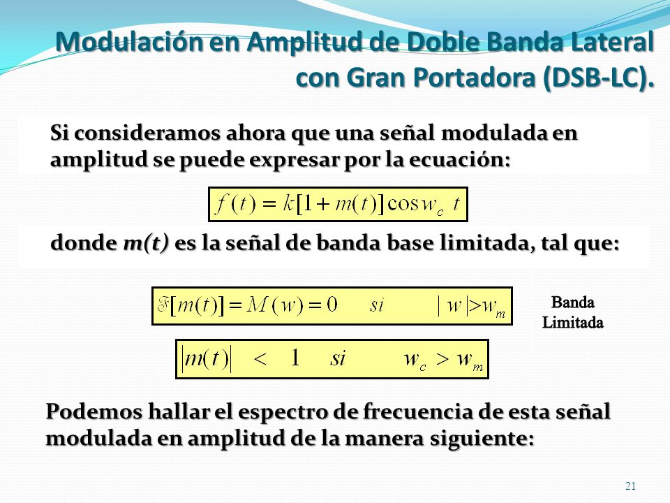 Podemos hallar el espectro de frecuencia de esta señal modulada en amplitud de la manera siguiente: 21 donde m(t) es la señal de banda base limitada,