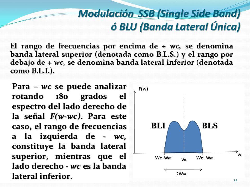 El rango de frecuencias por encima de + wc, se denomina banda lateral superior (denotada como B.L.S.) y el rango por debajo de + wc, se denomina banda