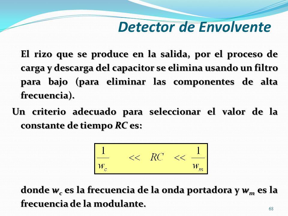El rizo que se produce en la salida, por el proceso de carga y descarga del capacitor se elimina usando un filtro para bajo (para eliminar las compone